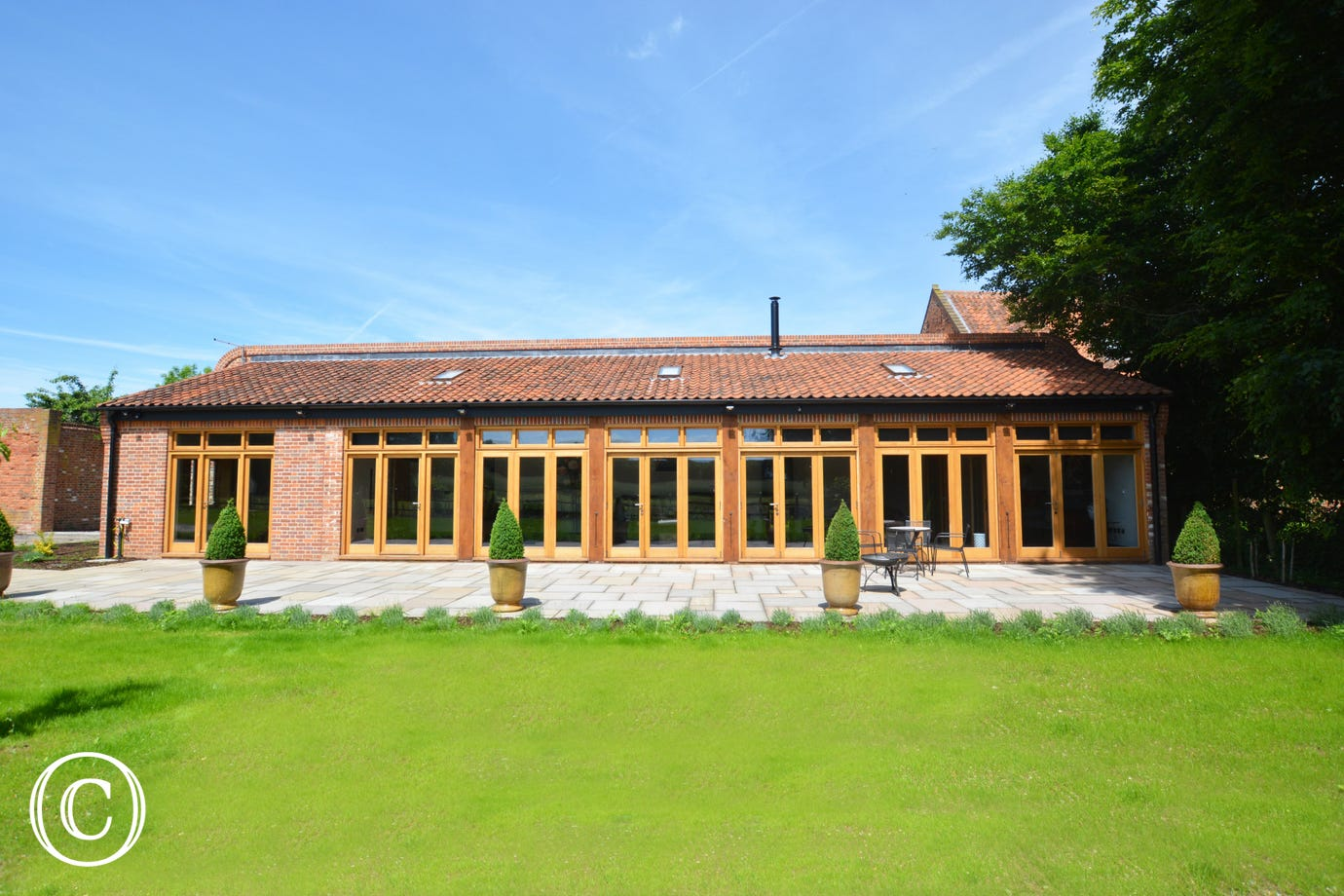 Attractive frontage to Cranmer Hall Barn Orangery