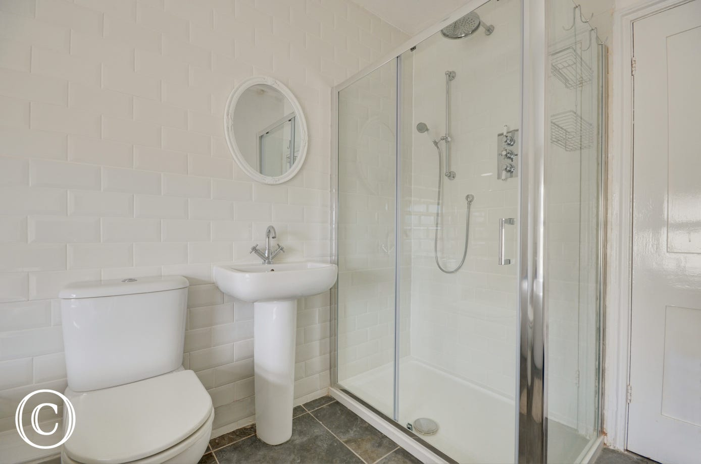 Rainfall shower cubicle, washbasin and wc