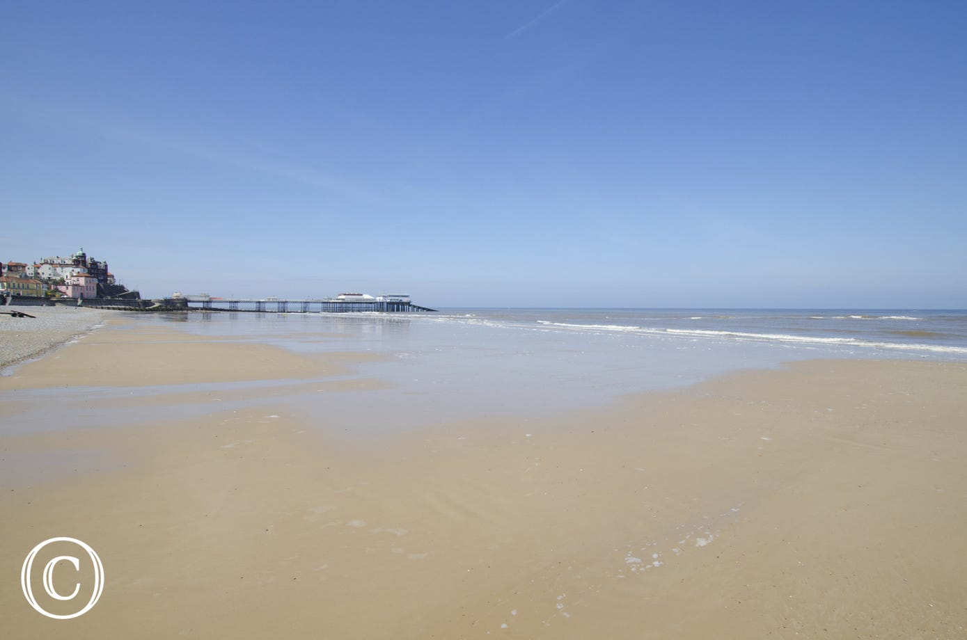 The tide is out at Cromer beach!