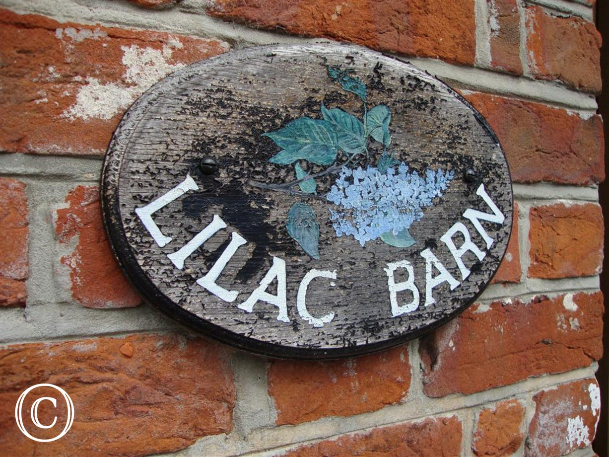 Lilac Barn name plaque