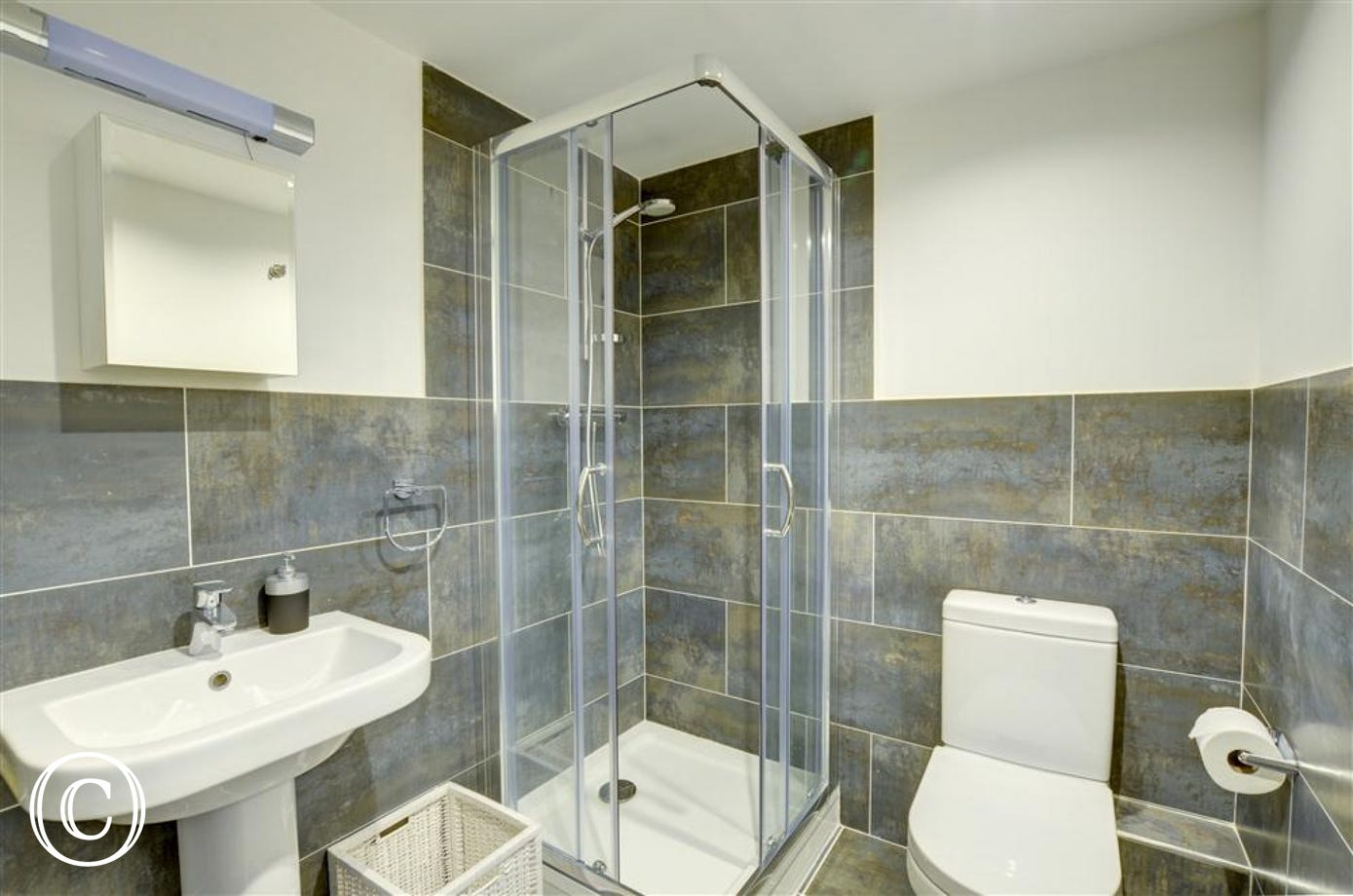 The high quality en-suite shower room with shower cubicle, wash handbasin and wc