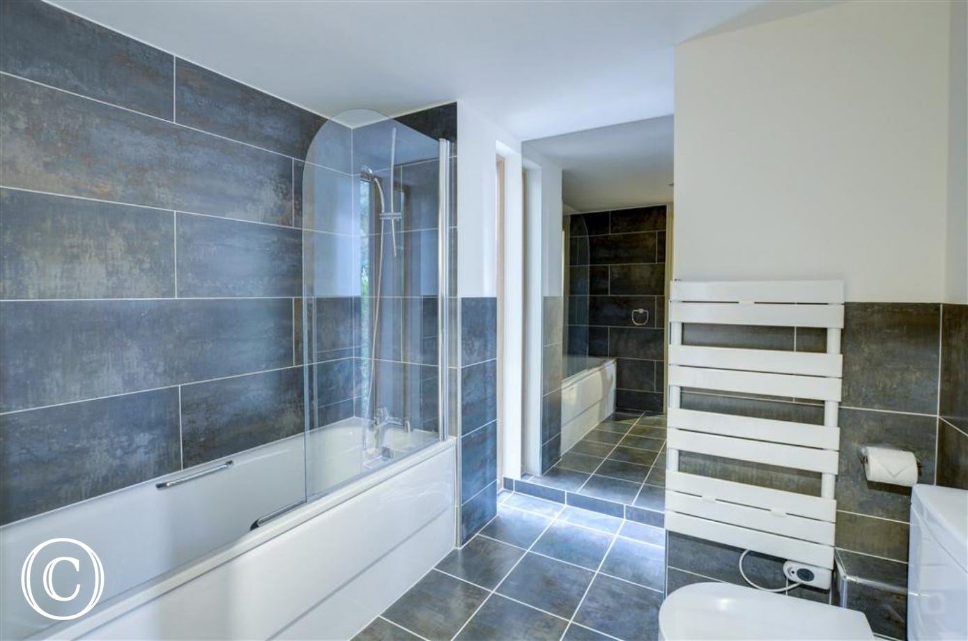 The stunning contemporay bathroom with stylish towel rail