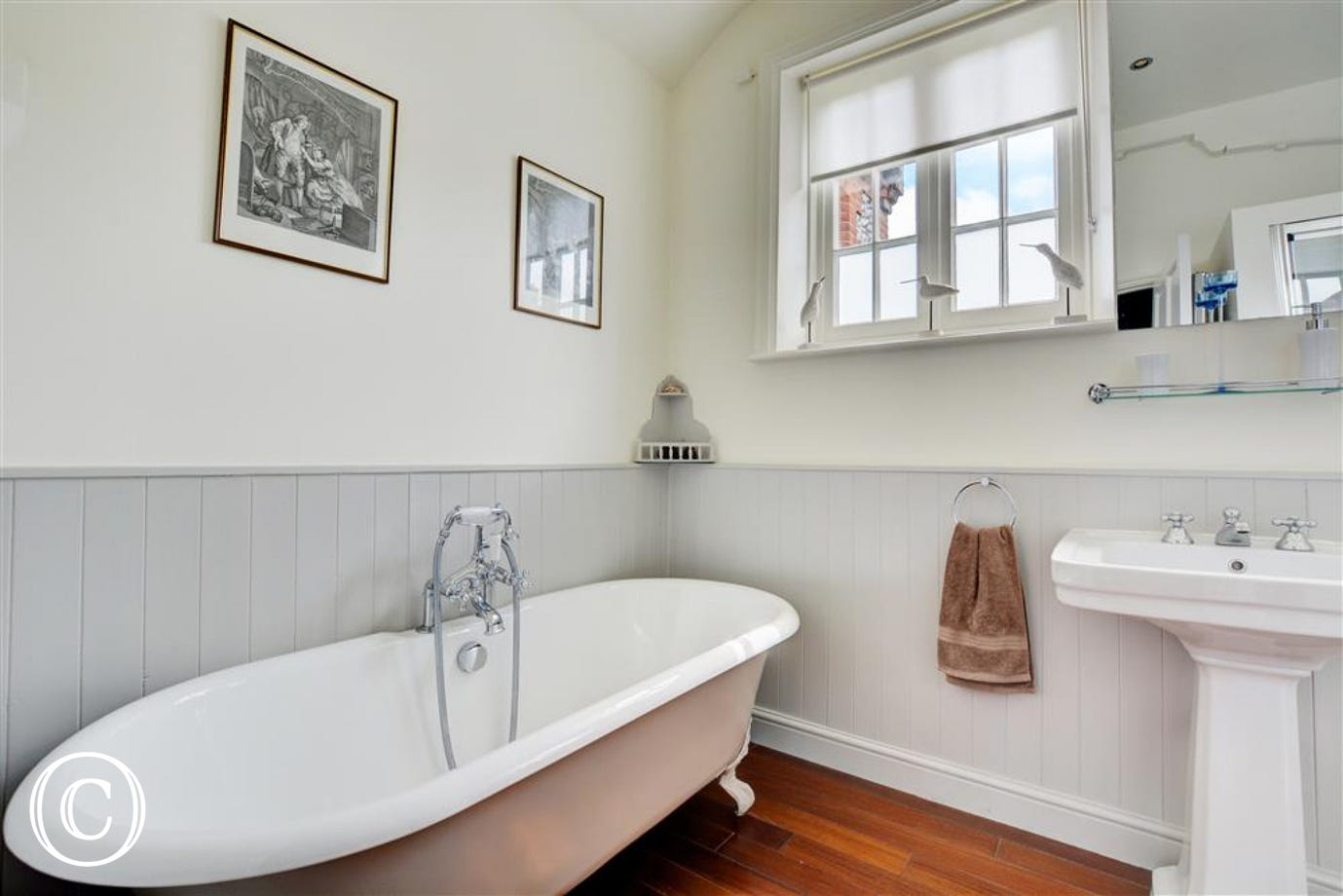Ground floor bathroom with lovely roll top bath