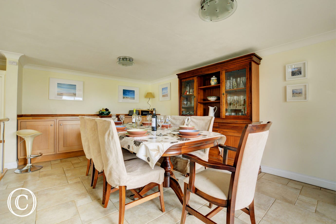 Dining area with table and chairs for family meals