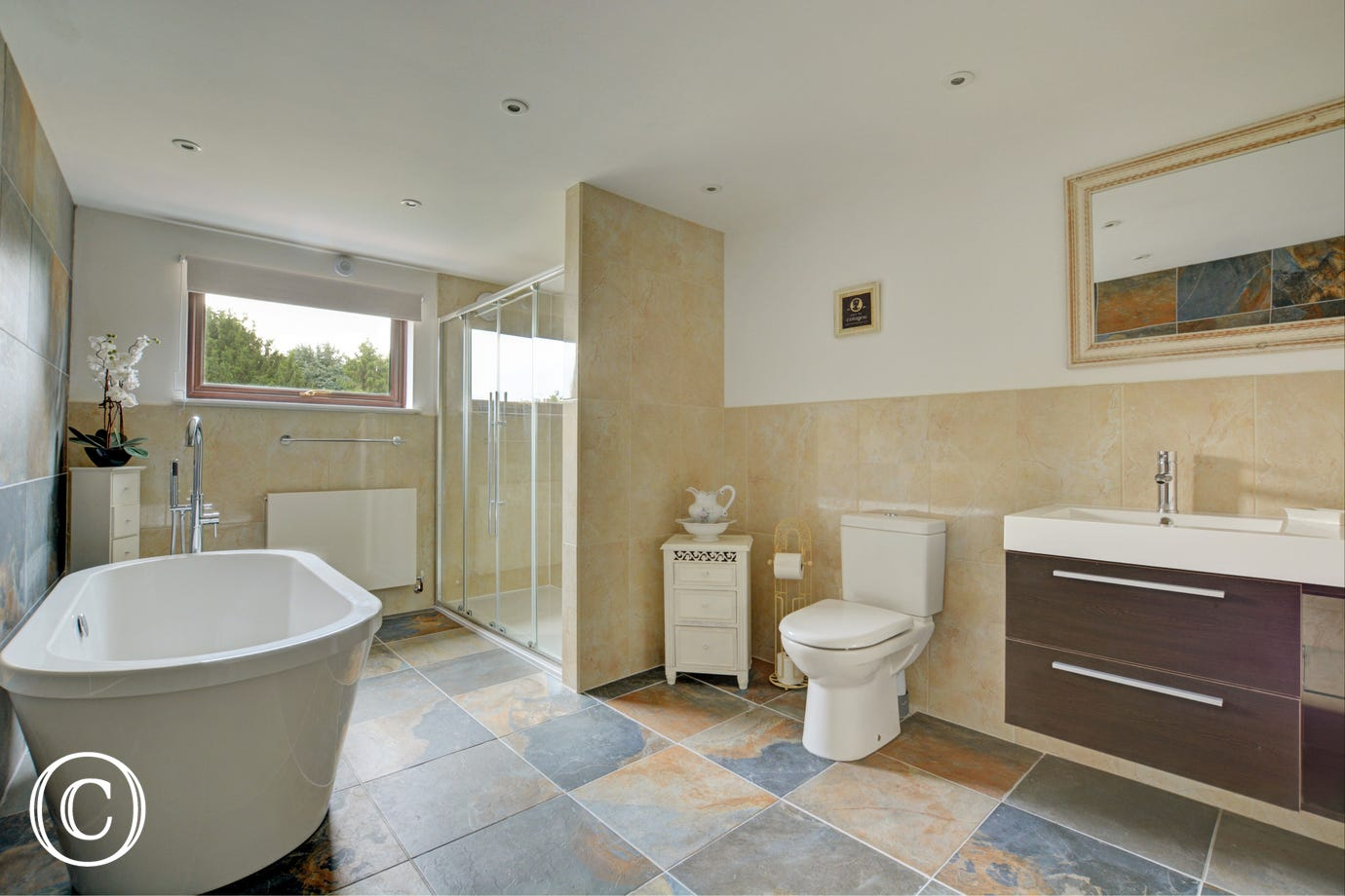 Bathroom with bath shower cubicle, washbasin and wc