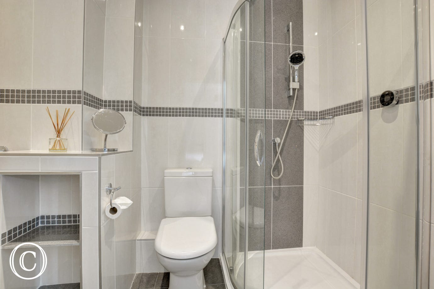 Bedroom 2 En Suite with shower, washbasin and wc