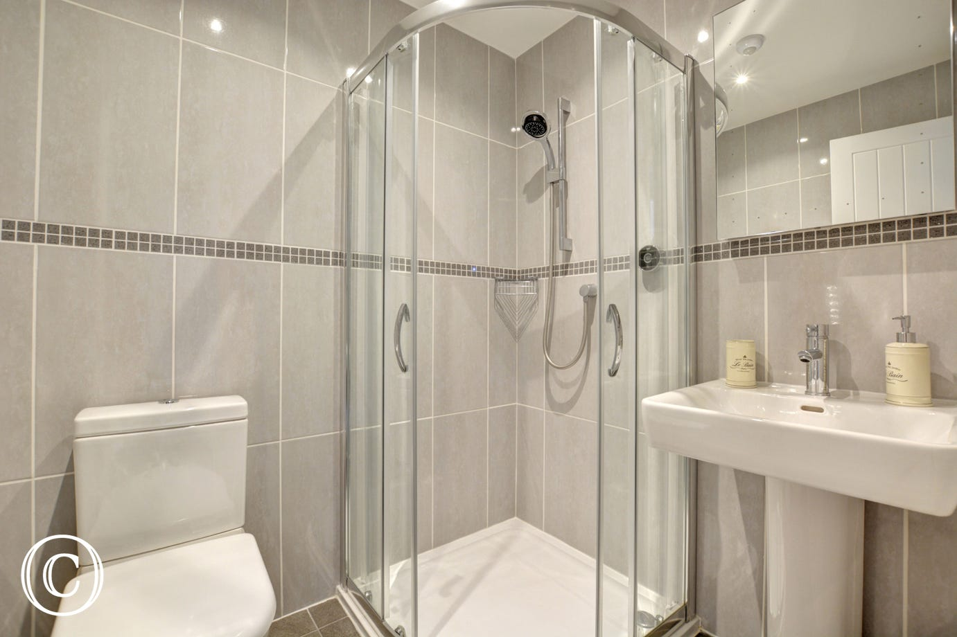 Bedroom 3 En-Suite with shower, washbasin and wc