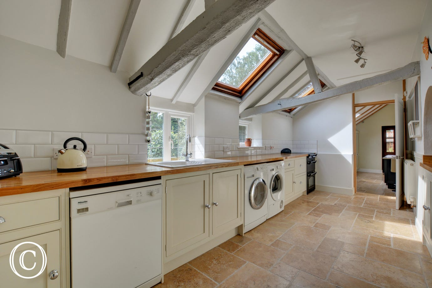 Utility room with  electric AGA, electric free standing cooker, 2nd dishwasher, 2nd washing machine, tumble dryer