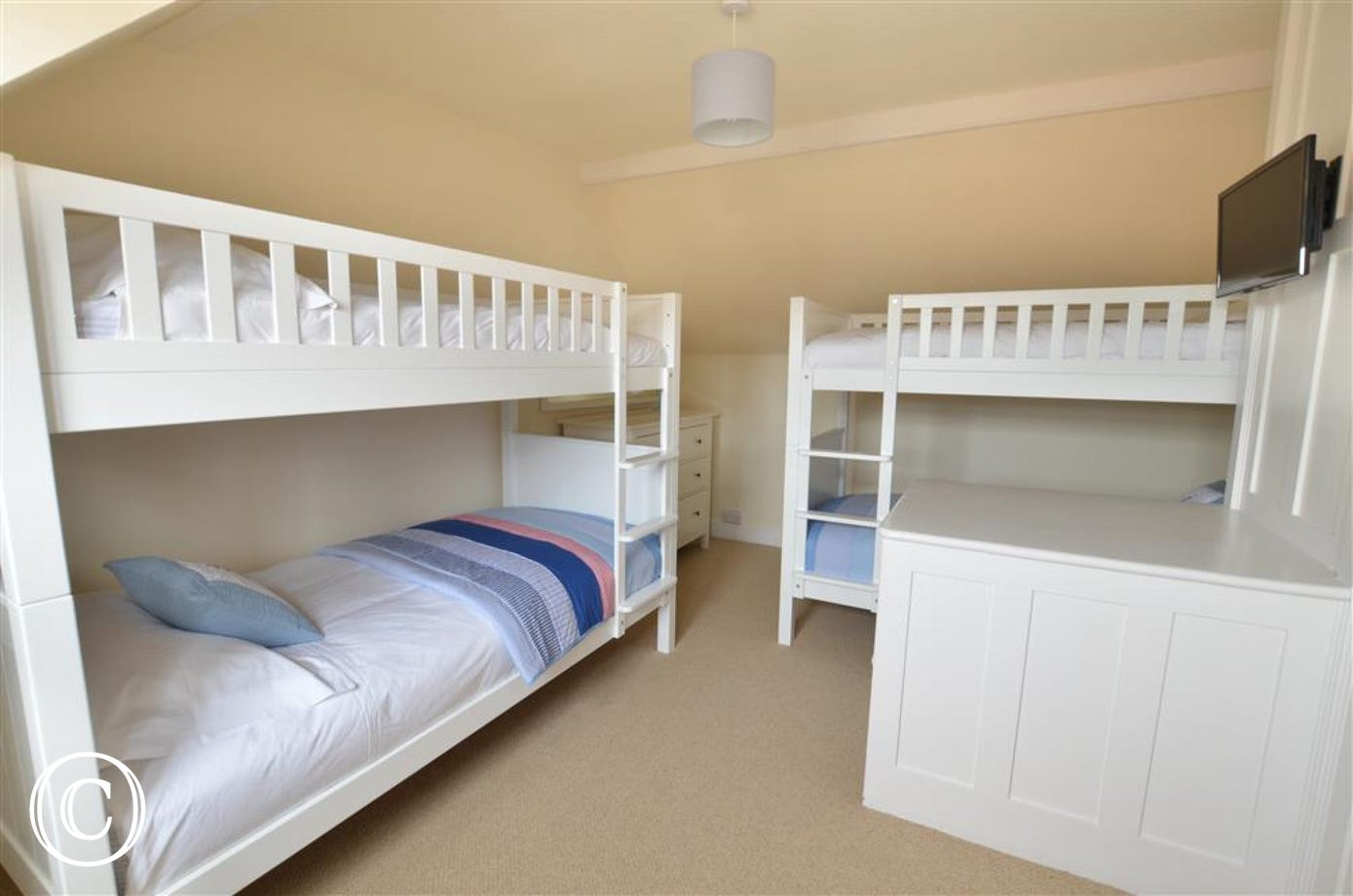 Bedroom three contains two sets of 3ft bunks, perfect for a childrens room.