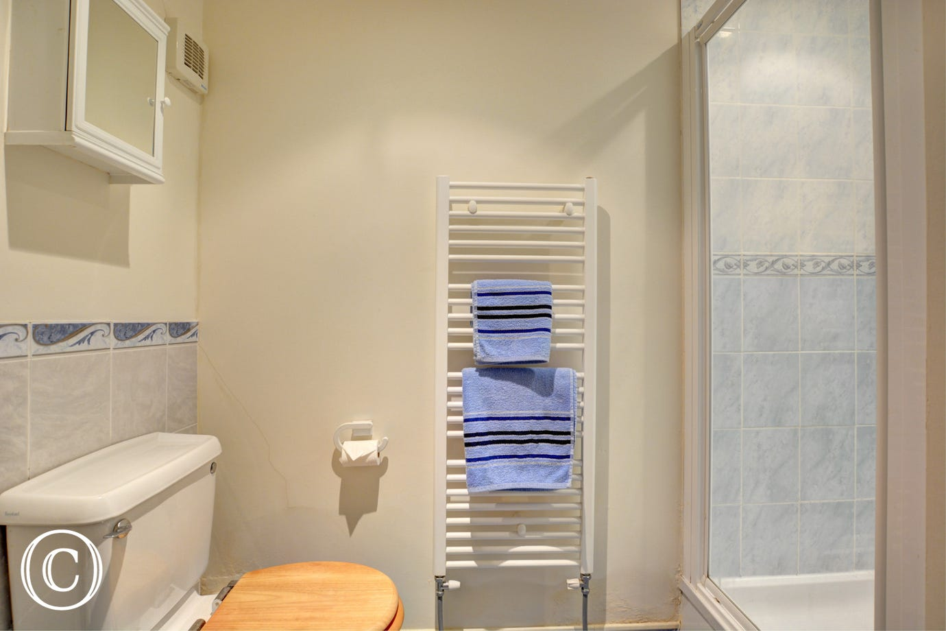 Modern and bright shower room with cubicle