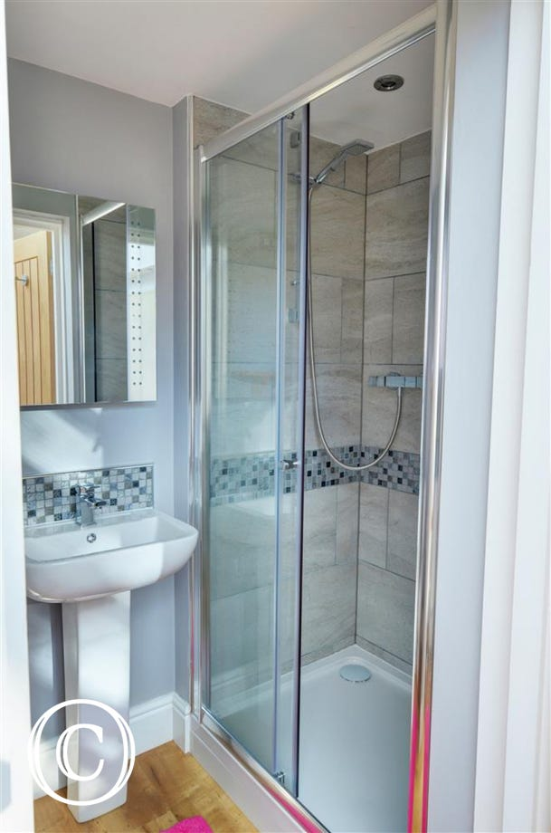 Shower room with shower cubicle