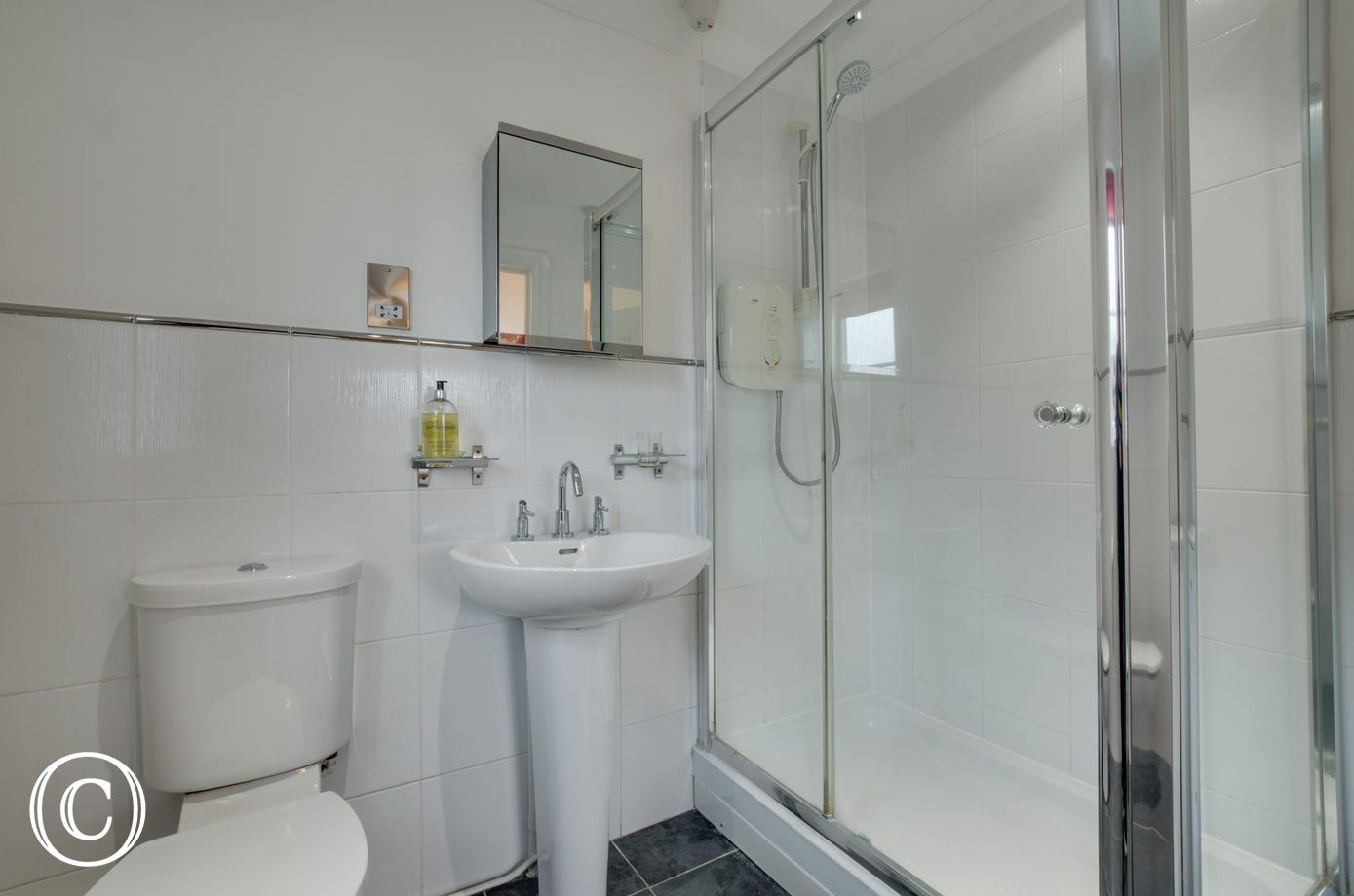 Bedroom 1 ensuite with shower, wc & washbasin