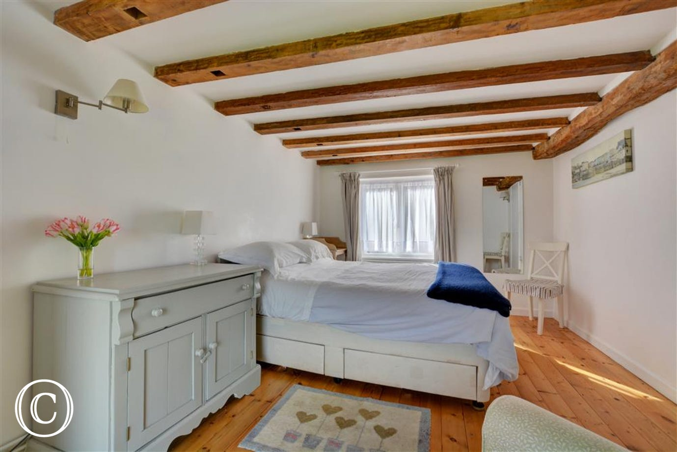Bedroom with lovely open beams