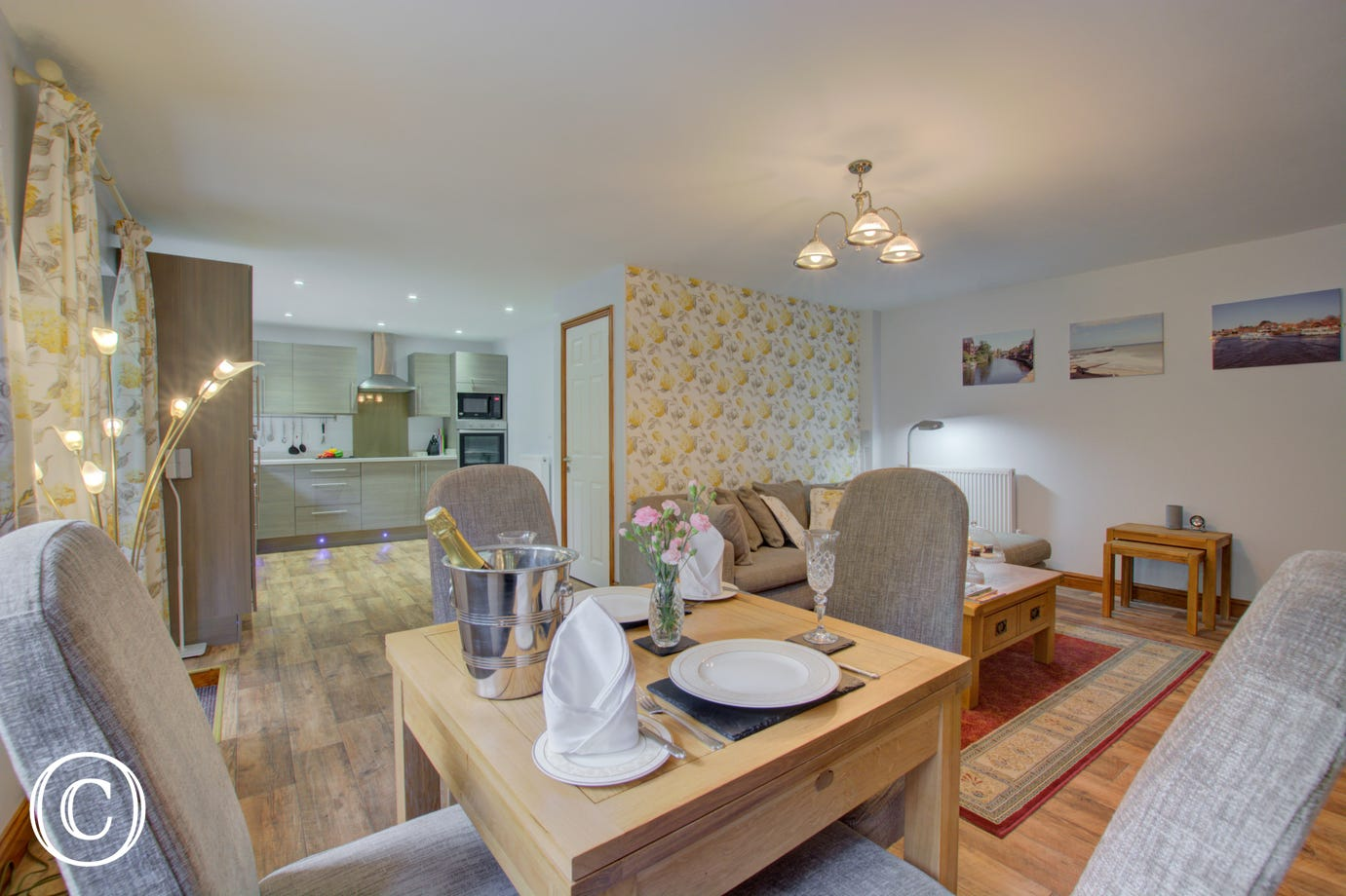 Comfortable seating and convenient dining area in the living space