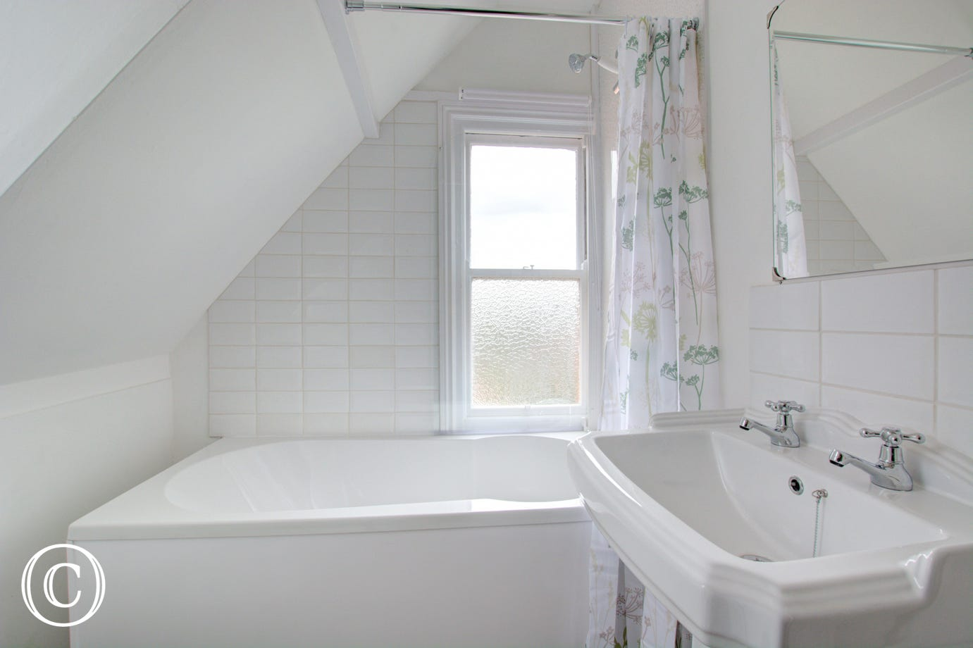Bathroom with bath, overhead shower & wash basin