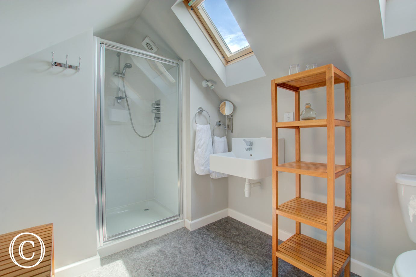 En-suite with shower cubicle, washbasin & wc