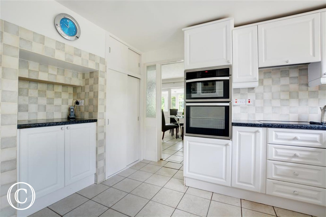 Well equipped kitchen with electric double oven