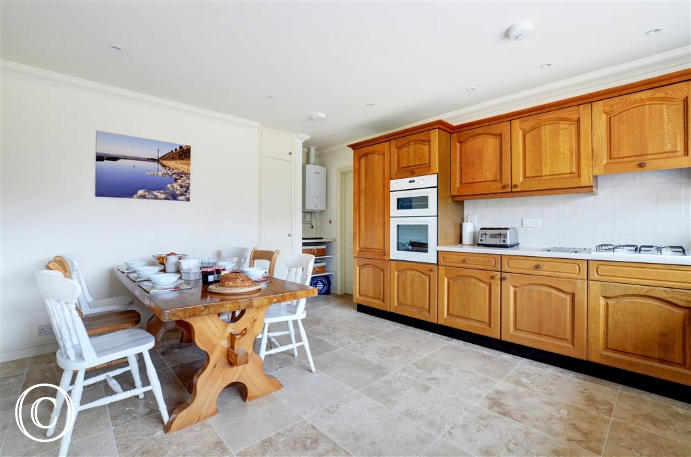 Spacious kitchen with seating area