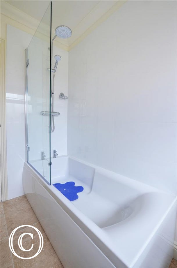 Bathroom with bath and overbath shower