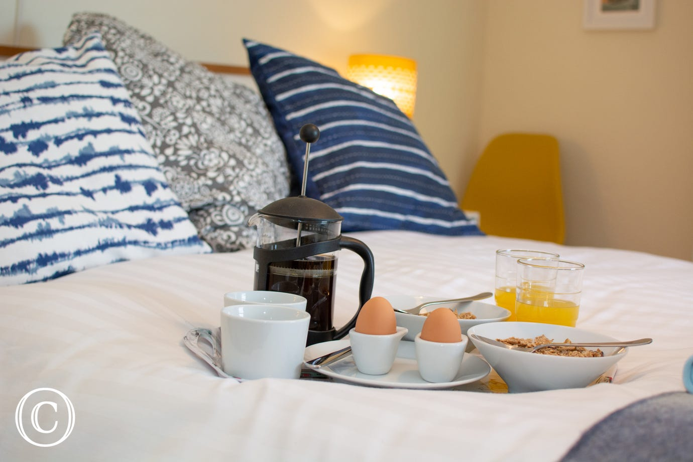 Larkrise breakfast tray on bed