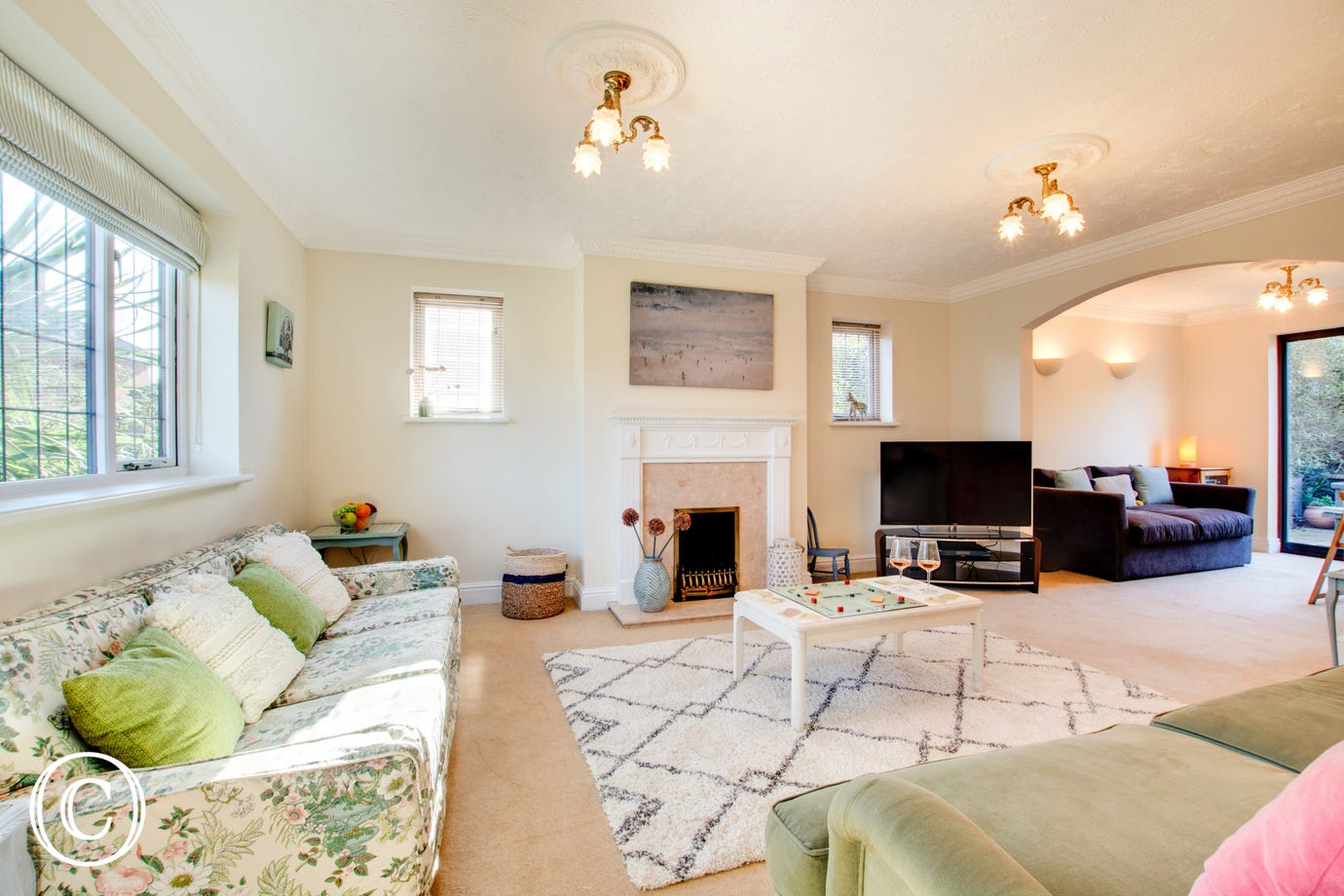 Large sitting room with Smart TV  and cosy gas fire