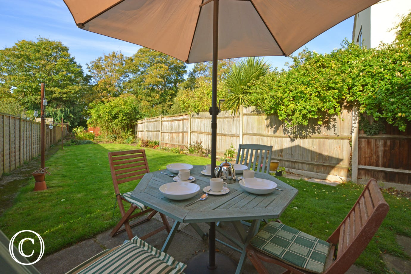 Patio area with garden furniture