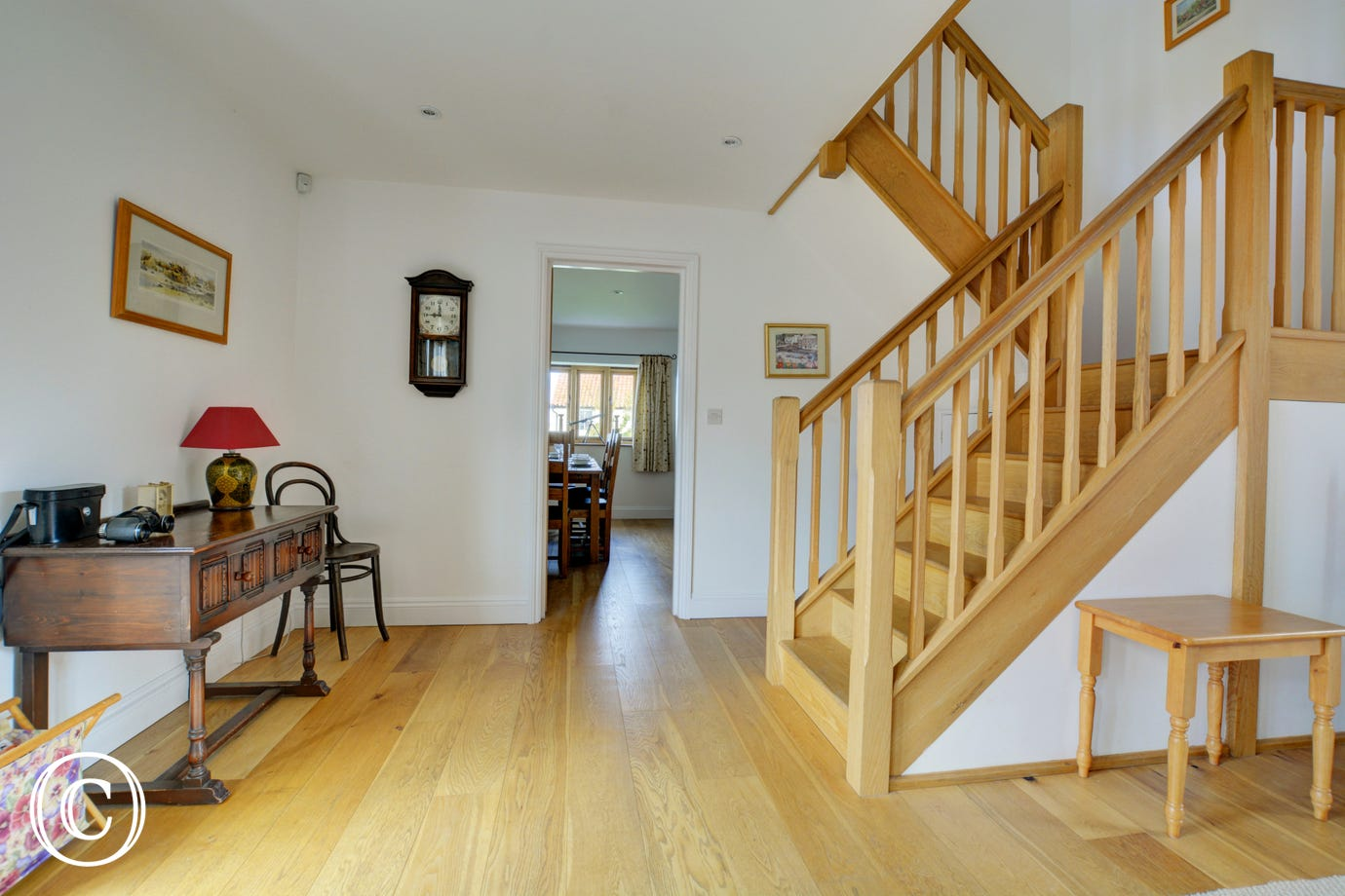 Entrance Hall Westgate Barn with staircase to first floor