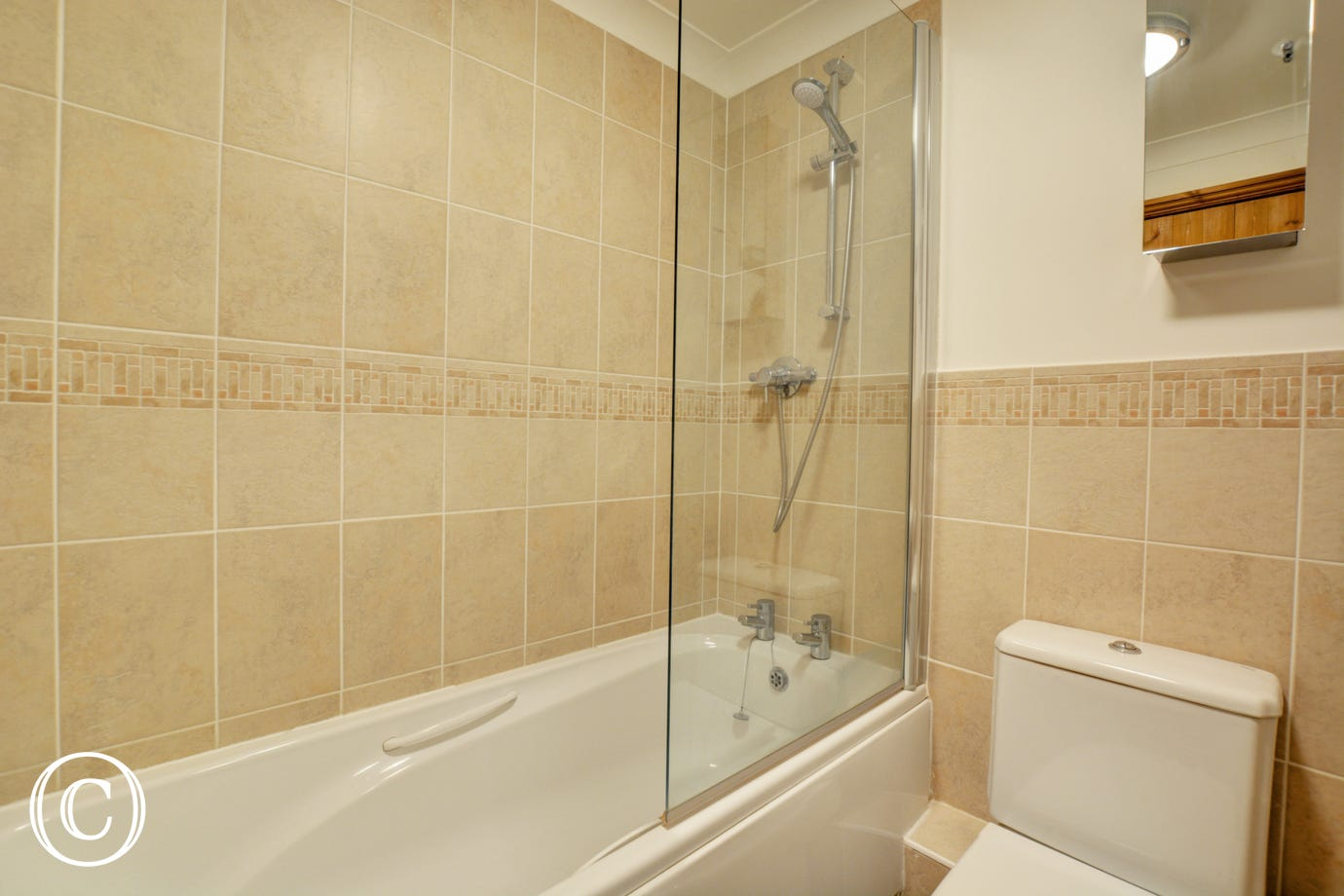 Bathroom with over the bath shower, washbasin and wc
