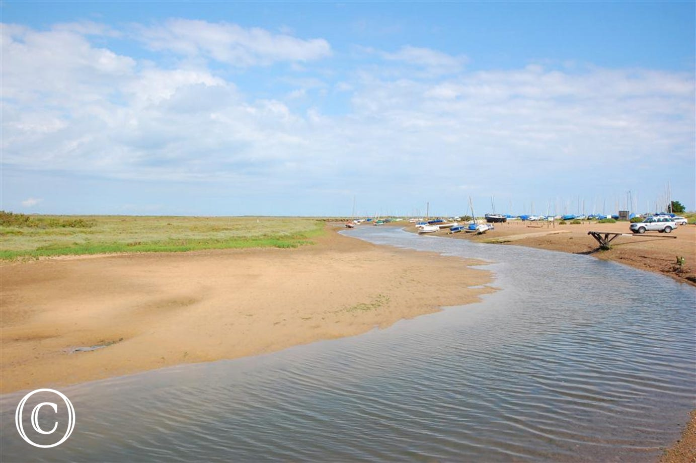 A panoramic view of Blakeney quay.