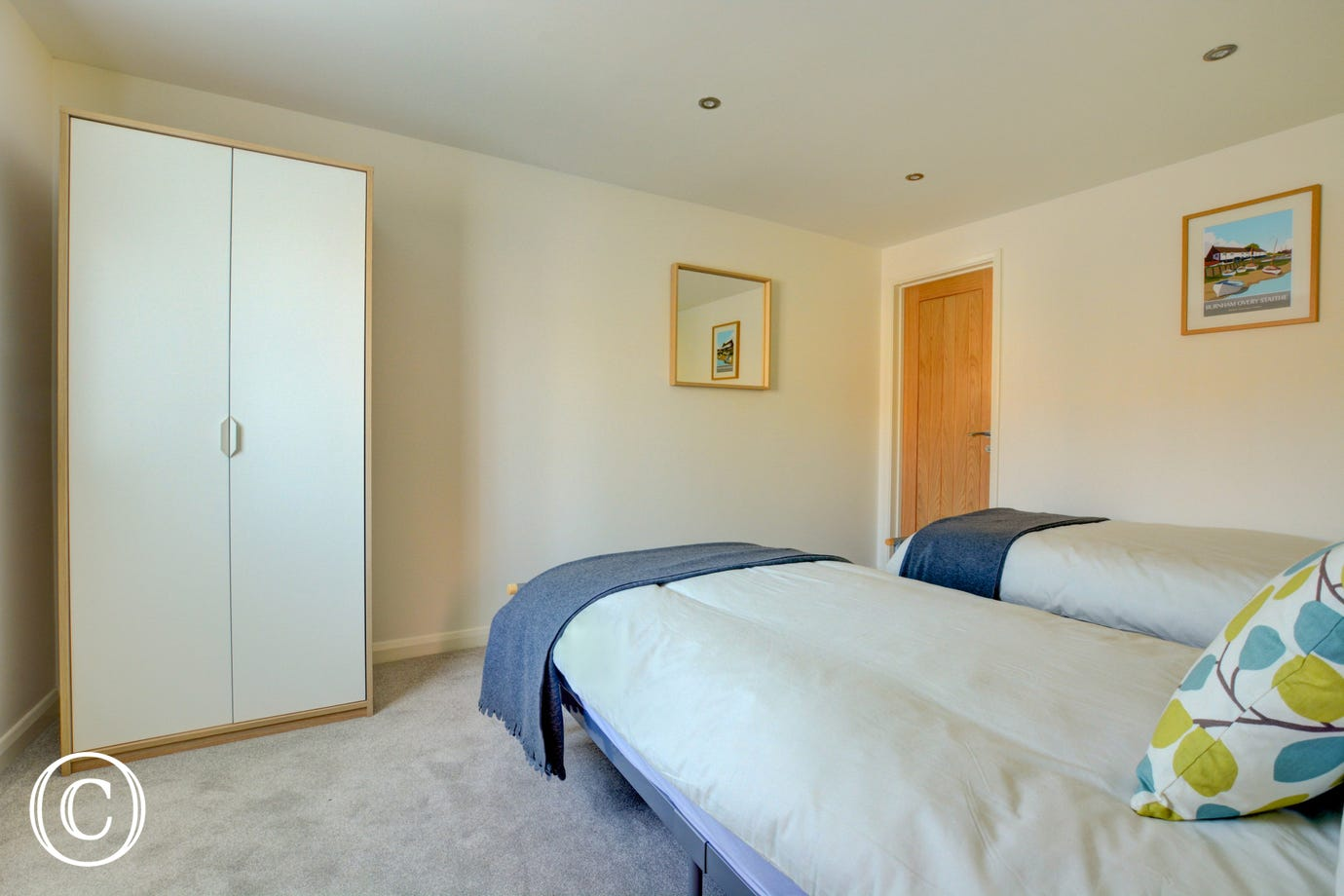 Bedroom 3 showing twin beds and wardrobe