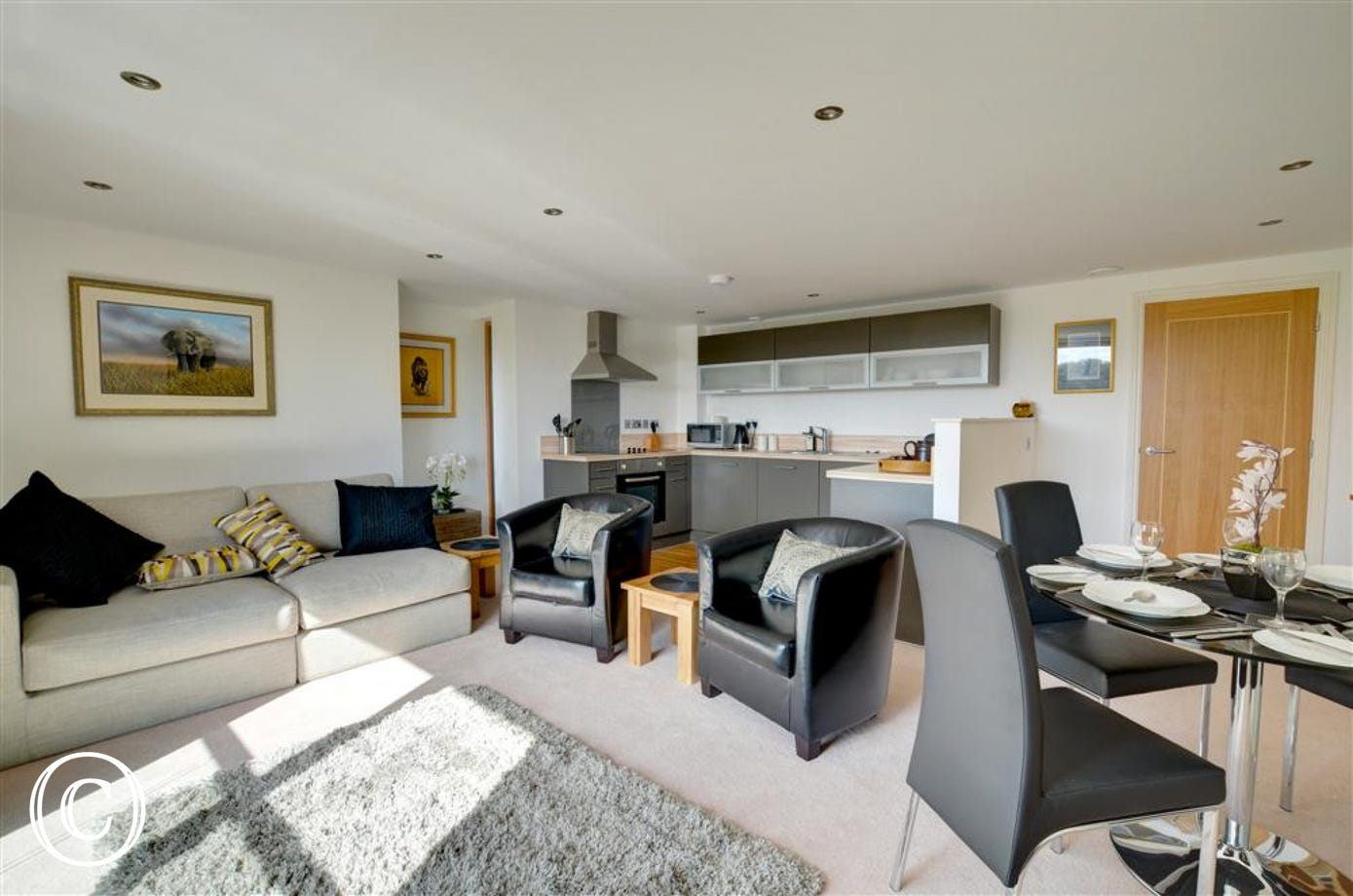 This view shows the large comfortable sofa as well as the dining area and kitchen