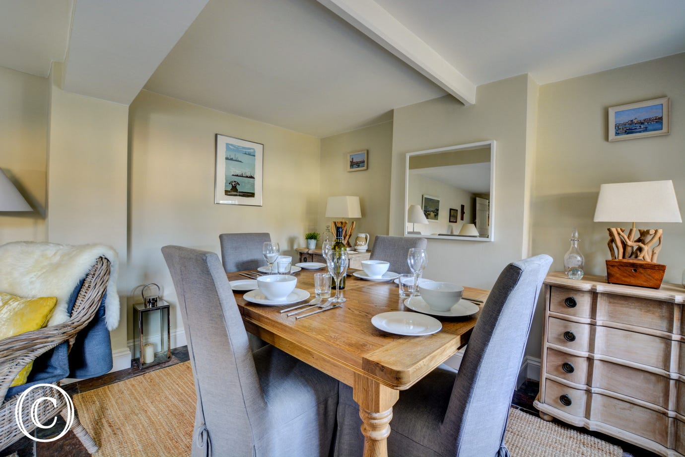 Convenient dining area within the sitting room