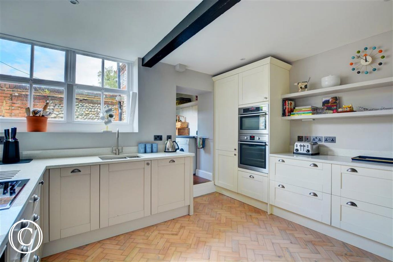 Spacious kitchen with ample cupboard space