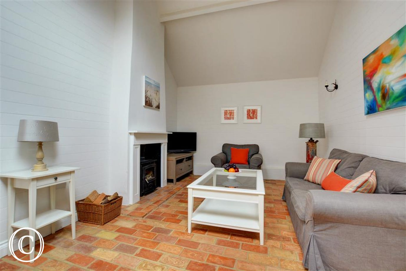Sitting Room - comfortable seating, Sony HD TV with FreeSat, DVD player, video player, WiFi and woodburner