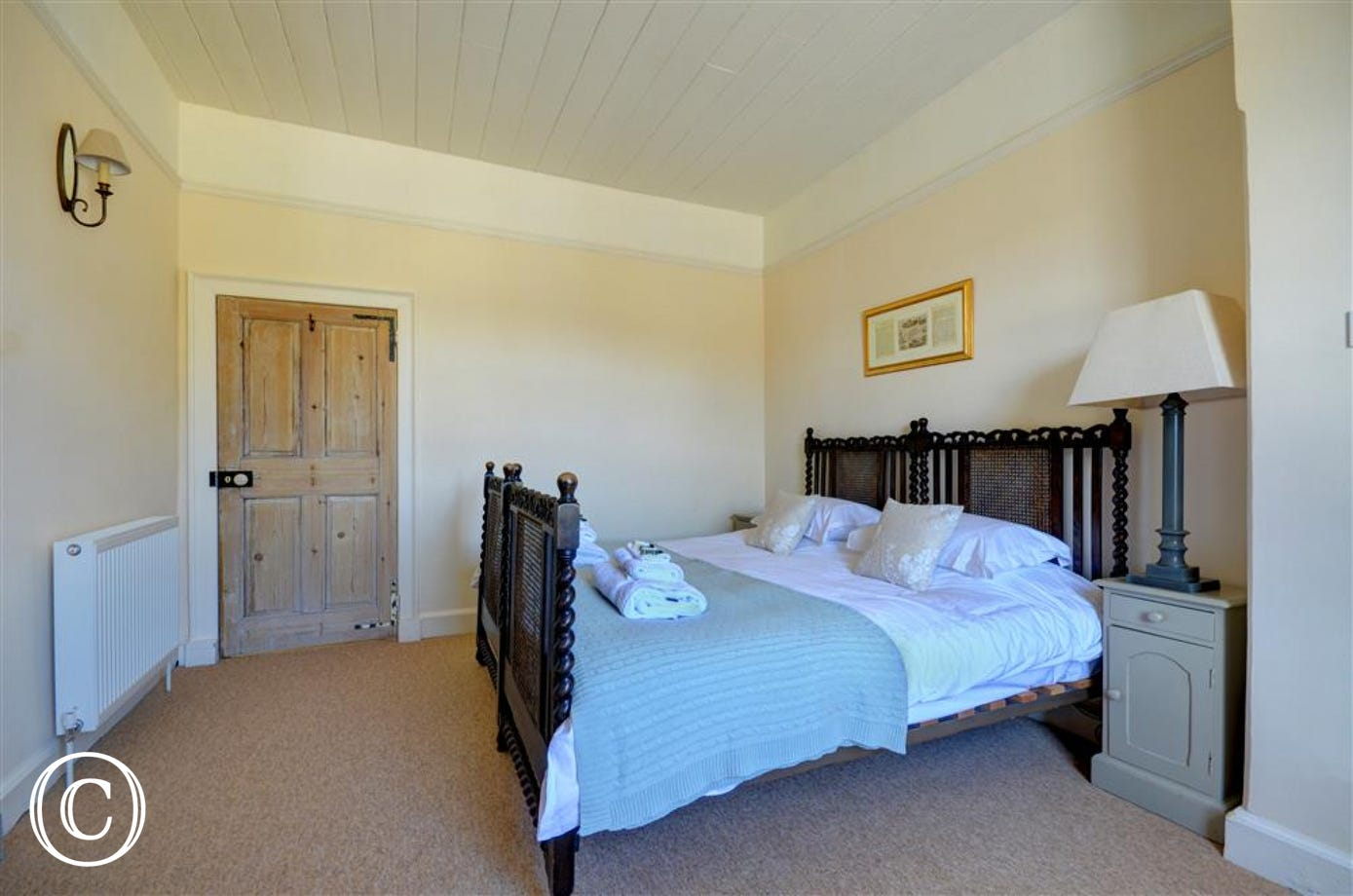 Bedroom two has twin beds which can also be converted into a king sized bed