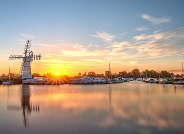 A stunning sunrise looking over the Norfolk Broads