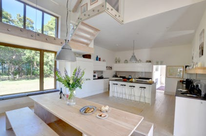 The dining kitchen is light and airy.
