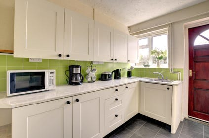 Kitchen area with a green theme