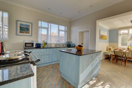 Kitchen  with electric two oven Aga, large fridge freezer, dishwasher, microwave and docking station.