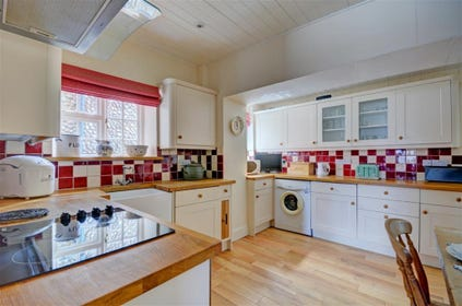 Large kitchen with ample cupboard and work surface space